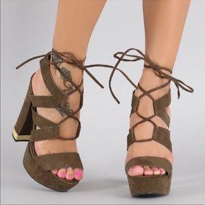 Olive green suede heels